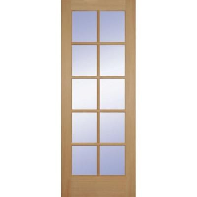 Builder 39 s choice 36 in x 80 in fir 10 lite slab door for Home depot prehung french doors
