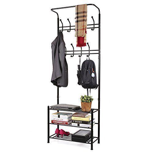 Heavy Duty Garment Rack Shelves Shoe Coat Clothes Hanger Clothing Rolling Rail #Homfa