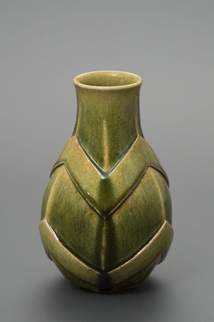織部刻文花生 Vase with engraved,Oribe type2013