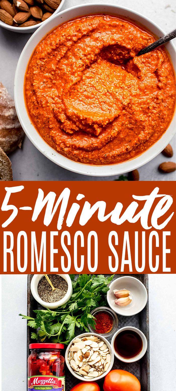 Romesco Sauce 5 Minute Quick Easy Recipe Roasted Red Pepper Pasta Stuffed Peppers Red Pepper Sauce Recipe [ 1550 x 700 Pixel ]