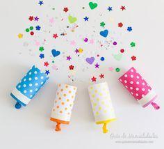 Grandes y pequeños se van a divertir con esta idea! Te enseño cómo hacer unos simpáticos y coloridos lanza papeles caseros para fiestas!