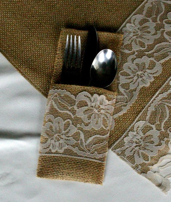 Burlap wedding decorations: table runner and silverware holder. DIY