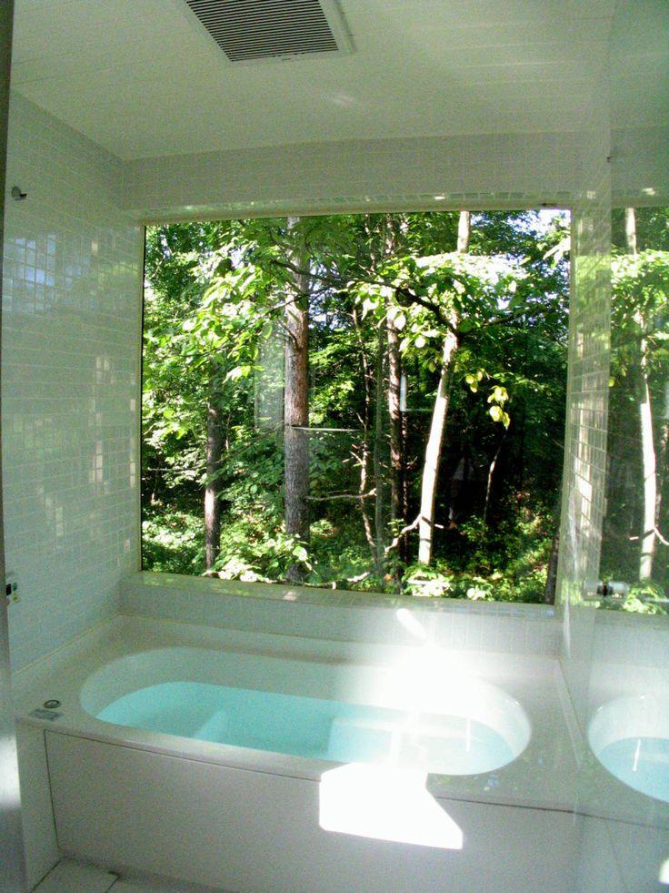 早田雄次郎建築設計事務所/Yujiro Hayata Architect & Associates の オリジナルな 洗面所/風呂/トイレ 浴室からの眺め