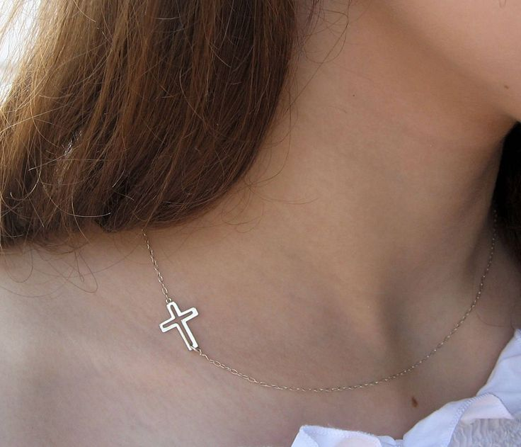 Side Cross Necklace, 925 Sterling Silver, Sideways Cross Necklace, Christian Cross, Protection Necklace, Layered Necklace, Gift Under 25