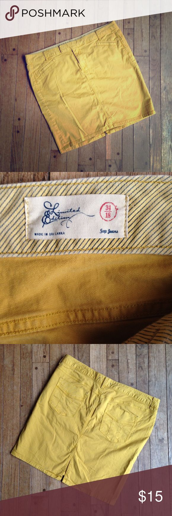 """GAP """"gelded gold"""" limited edition mini skirt Like new!  Beautiful """"gelded gold"""" color. Two pockets in front, two in back. Zip, button, and slide closure in front. Belt loops. 7"""" Slit in back.  W-40. I-20.  99% cotton. 1% Lycra. GAP Skirts Mini"""