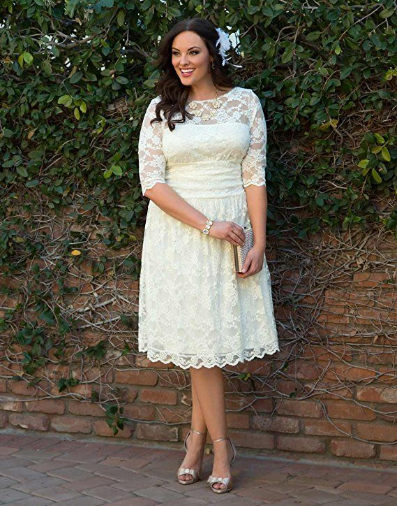 3d2af55bd6 Kiyonna Women s Plus Size Aurora Lace Wedding Dress 4X Ivory at Amazon Women s  Clothing store