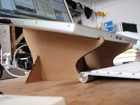 Recycle your cardboard boxes into a nifty laptop stand.