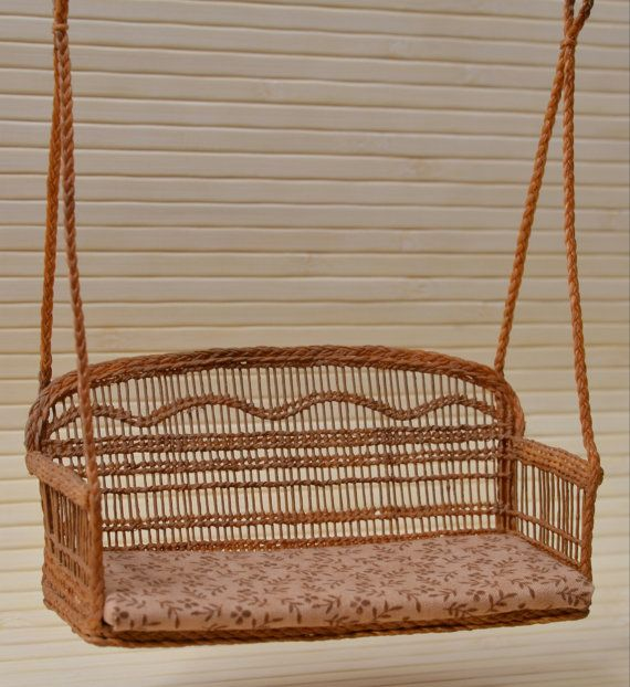 A swing sofa for garden by WickerMiniature on Etsy