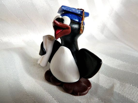 Unpersonalized Graduation Guin With Blue Glitter Hat! Designed & sculpted with no molds used by WynsomeCreations, $24.00