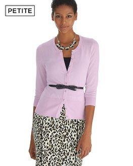 White House   Black Market Petite Crewneck 3/4 Sleeve Ribbon Cardigan #whbm