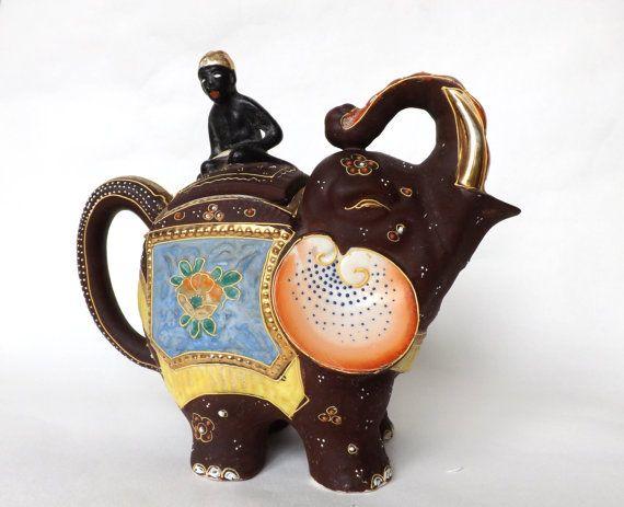 Vintage elephant teapot made in japan japanese moriage satsuma asian decor vintage kitchen - Elephant shaped teapot ...