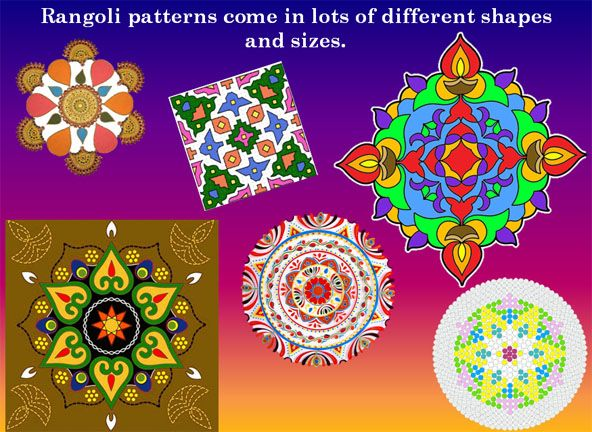 Lots of pictures - stimulus for children to make their own Rangoli patterns