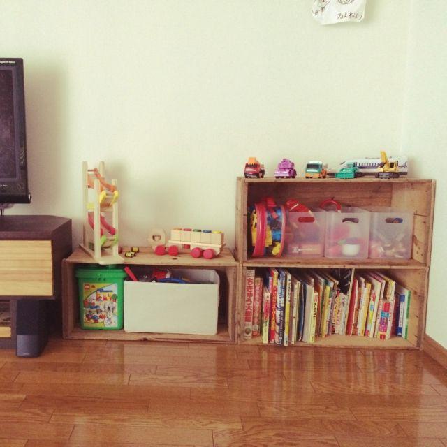 torokanaさんの、無印良品,こどもと暮らす。,りんご箱,こどものおもちゃ,リビング,のお部屋写真