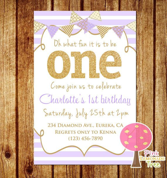 Purple and Gold First Birthday Party by PinkLemonadeTree on Etsy