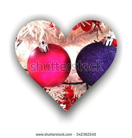 #Love for #Christmas expressed by #Heart form with shadow filled with two flashy Christmas #globes and abstract white decors