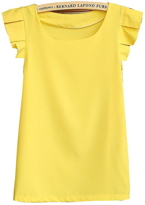 Yellow Round Neck Pleated Short Sleeve Chiffon Blouse
