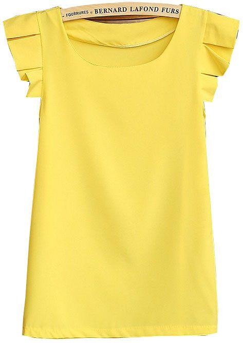 Yellow Round Neck Pleated Short Sleeve Chiffon Blouse - Sheinside.com
