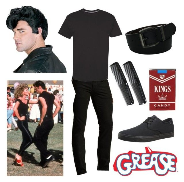 """Grease - Danny Zuko Costume"" by itsafabulouslife ❤ liked on Polyvore featuring Hanes, Levi's, men's fashion and menswear"