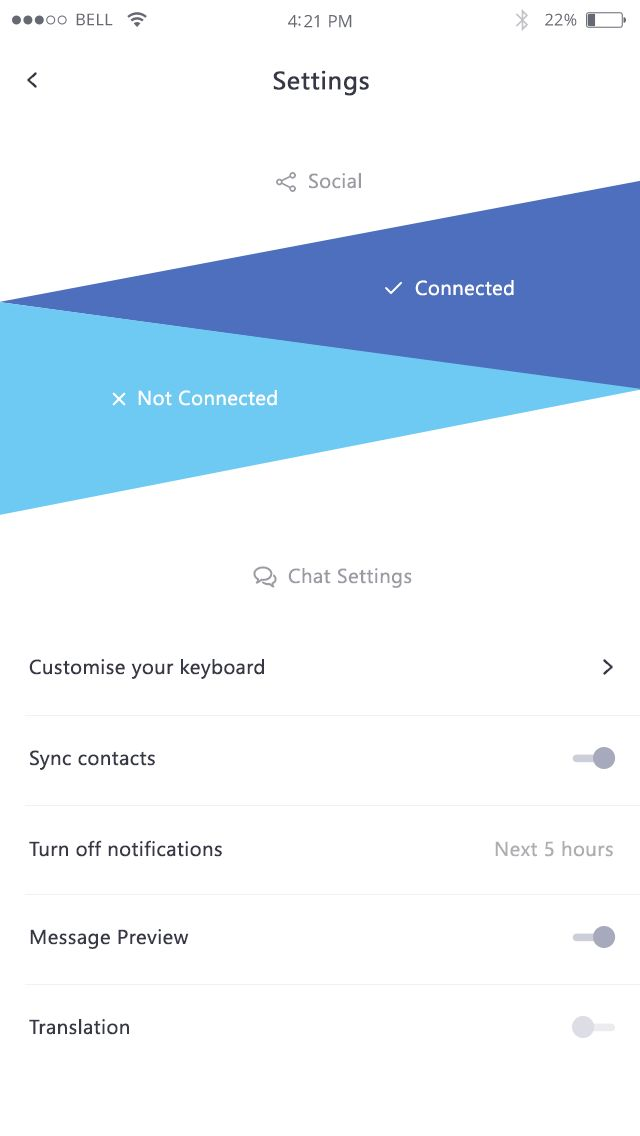 Demo screens for a chat app
