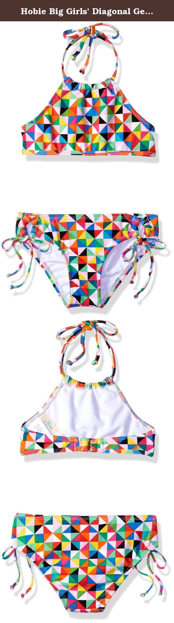 Hobie Big Girls' Diagonal Geo High Neck Set, Multi, 7. Colorful geometric print high neck top and hipster pant swim suit set.