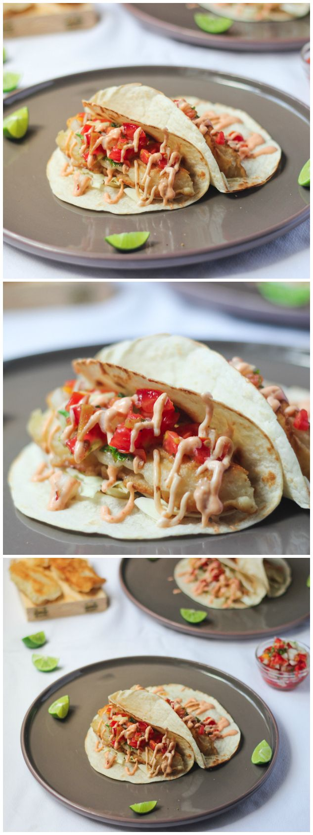 Beer-Battered Fish Tacos with Sriracha Mayo is a delicious, easy and insanely tasty meal for your typical fish meal this Easter season! The pico de gallo is the best part!