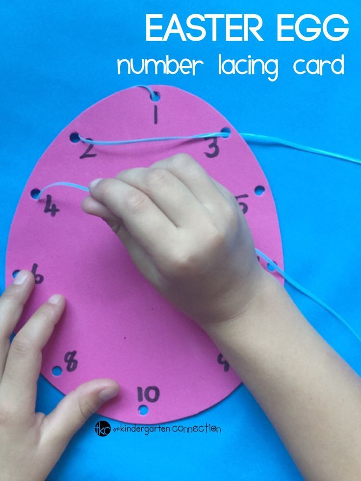 Work on fine motor skills and so much more with these easy DIY Easter egg lacing cards! #finemotor #lacing #easteregg #eggcraft #numbers #numberlacing #numberlacingcard #preschool #kindergarten