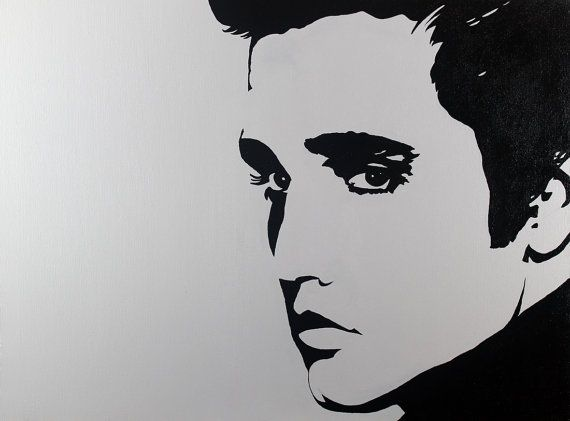 Elvis portrait pop art style black and by jaclynmillerdesigns 195 00 celebrity portraitsblack n whiteart