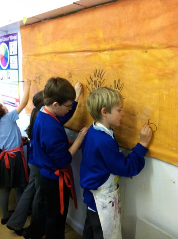 Chauvet and Lascaux cave art.   Put butcher paper up on classroom wall and students draw what they learned