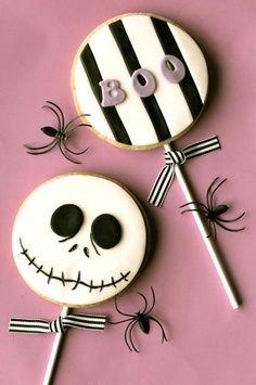 Halloween Tim Burton's Nightmare before Christmas Jack Skellington cookies #food #sweet #halloween