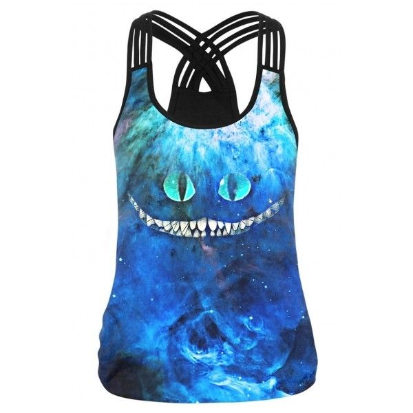 New Trendy Multi Straps Crisscross Back Galaxy Cat Print Cami Top (28 CAD) ❤ liked on Polyvore featuring tops, blue cami, cami top, camisole tank top, cami tank tops and cat tank top