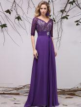 Vestido para la madre de los novios de chifón de violeta oscura con 1/2 manga