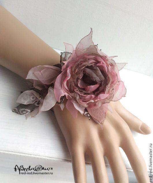 Купить Браслет - колье с цветком из ткани. Трансформер. - цветы из ткани, браслет с цветами, цветы искусственные