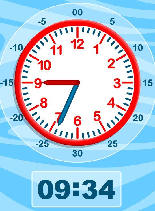 Verschuif de wijzers van de klok en zie hoe de digitale klok de cijfers mee laat verschuiven.