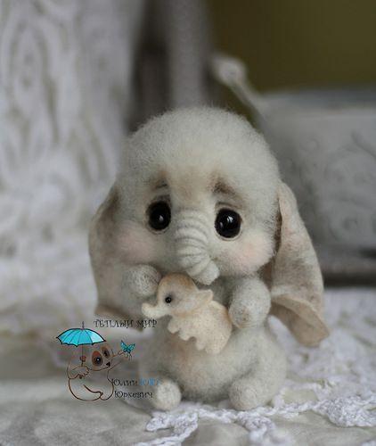 Needle Felted Baby Elephant...
