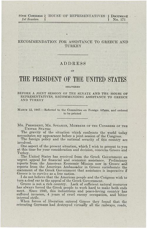 Truman doctrine essay