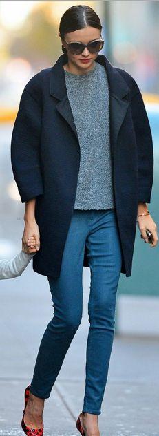 Miranda Kerr, coat and sweater: Isabel Marant, Shoes: miu miu, Bracelet: Cartier