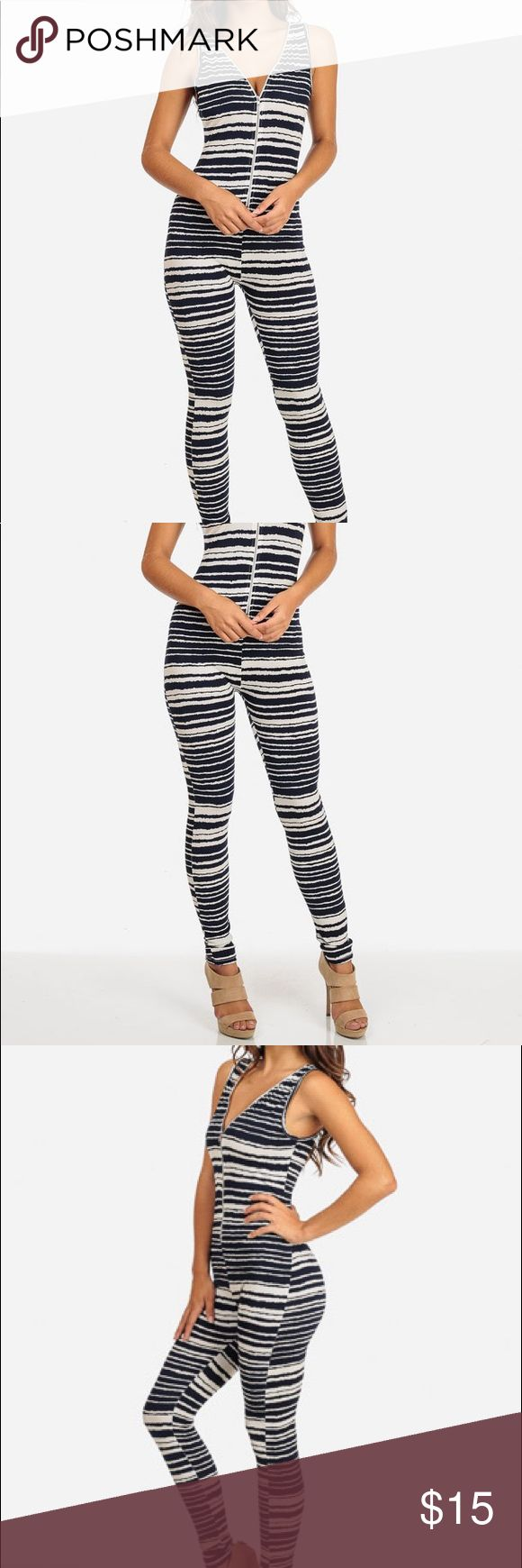 """💕BrandNew STRIPE DESIGN BODYCON JUMPER💕 Sleeveless jumper with a navy and white stripe design, functional zipper in the front so you can adjust the neckline and get into it with ease. Super stretchy material and bodycon tight fit to show off all your sexy curves. Made from 95% polyester and 5% spandex. Length from underarm down approx 47"""" and inseam 29"""". MADE IN USA🇺🇸check my closet for more brand new items. Topia Pants Jumpsuits & Rompers"""