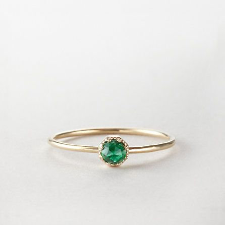 Emerald and Gold Crown Bezel Ring, $585 | 25 Stunning Engagement Rings That Aren't Made With Diamonds