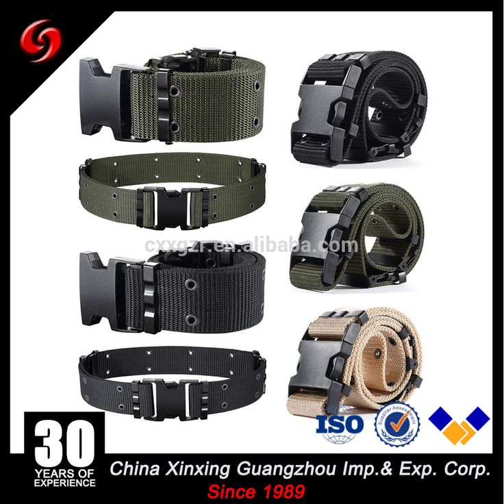 High Quality Camouflage Tactical Military Cotton Webing Belt,black buckle with emblem