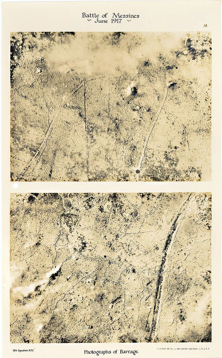 This is page 38 of 43 pages of aerial photos taken by 6 Squadron Royal Flying Corps before and after the Battle of Messines. These two photos were taken to show the impact of allied barrage at Hill 60 and St Eloi, immediately prior to the Battle of Messines in June 1917.