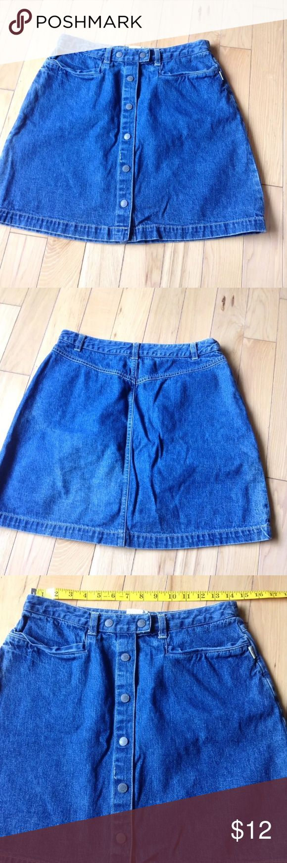 Vintage esprit Button Up 90s grunge Jean skirt Please see photos for all measure and detail prior to purchase. Like the item but not the price? I accept reasonable offers! This item was pre owned and gently worn. It comes from a smoke free home. There are no holes, rips, tears or stains to note. Fast shipping! Buy with confidence! Vintage Skirts Pencil