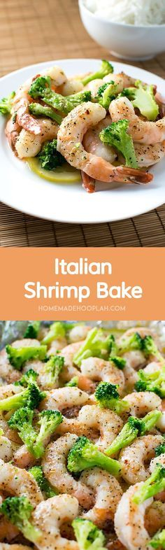 Italian Shrimp Bake! An extremely easy shrimp dinner that packs a ton of flavor! Customize it with your favorite vegetables.   HomemadeHooplah.com