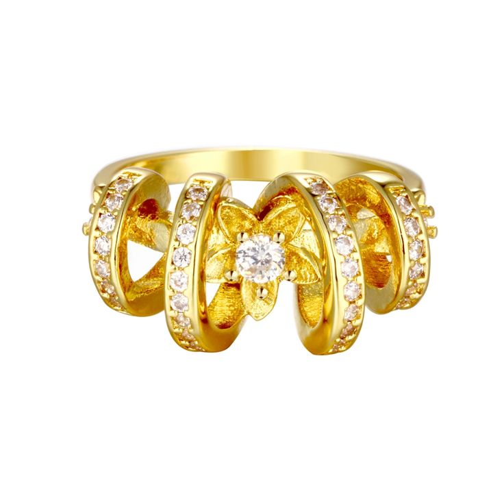 Find More Rings Information about  Yellow and Rose Gold Plated Jewelry Flower Ring with Austrian Crystal Big Rings for Women Ornamentation 2015 Ulove R106,High Quality ring butterfly,China ring stock Suppliers, Cheap ring from Ulovestore Jewelry on Aliexpress.com