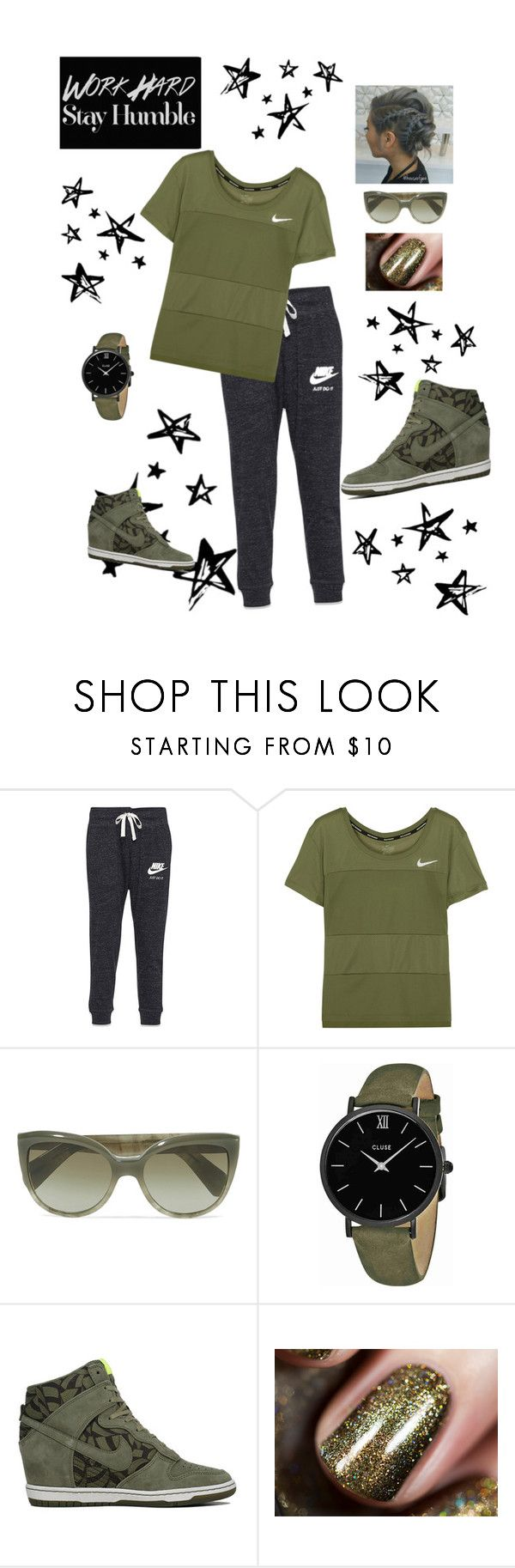 """""""Just do it!! Olive"""" by ericjen8685 ❤ liked on Polyvore featuring NIKE, Oliver Peoples, CLUSE and Oliver Gal Artist Co."""
