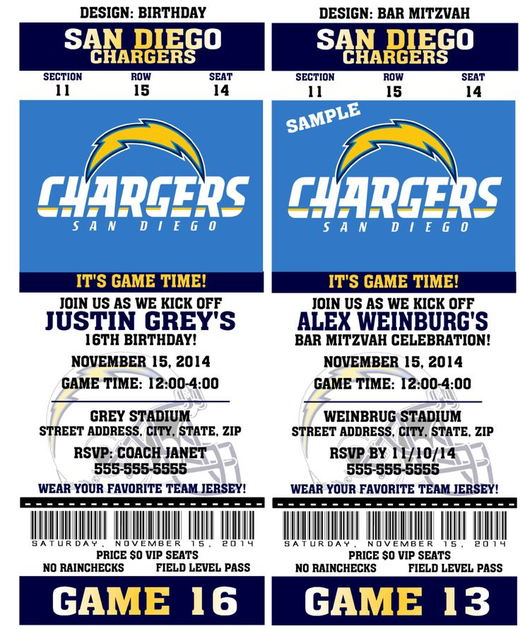 San Diego Chargers Game Schedule: Printable Birthday Party Invitation Card San Diego