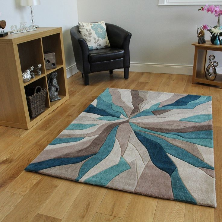 tapis contemporain bleu turquoise et taupe motif vagues. Black Bedroom Furniture Sets. Home Design Ideas