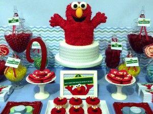 Maravillosa mesa de cumpleaños de Elmo #BlogdeBabyCenter @Pilar Diaz Suarez Hernandez-Enmicocinahoy