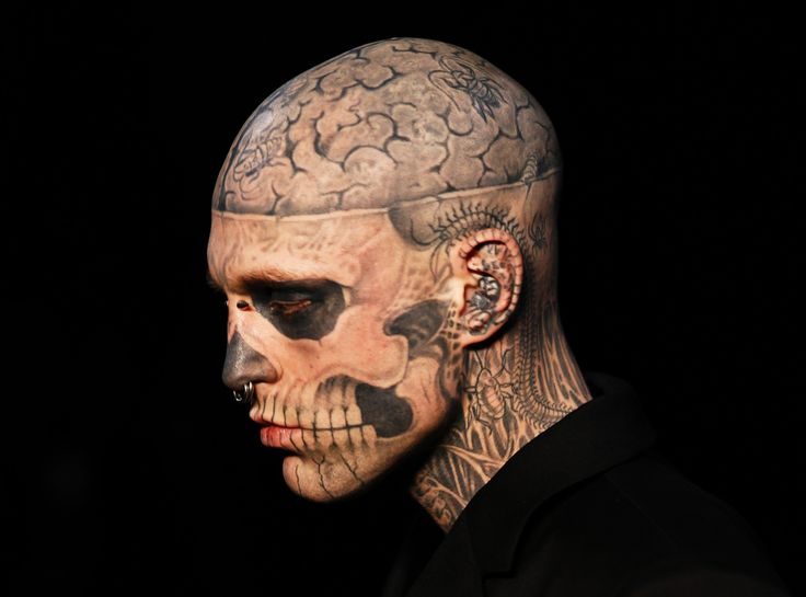 Canadian model Rick Genest aka Zombie boy presents a creation by French designer Thierry Mugler during the Men's fall-winter 2011-2012 ready-to-wear collection show on January 19, 2011 in Paris.
