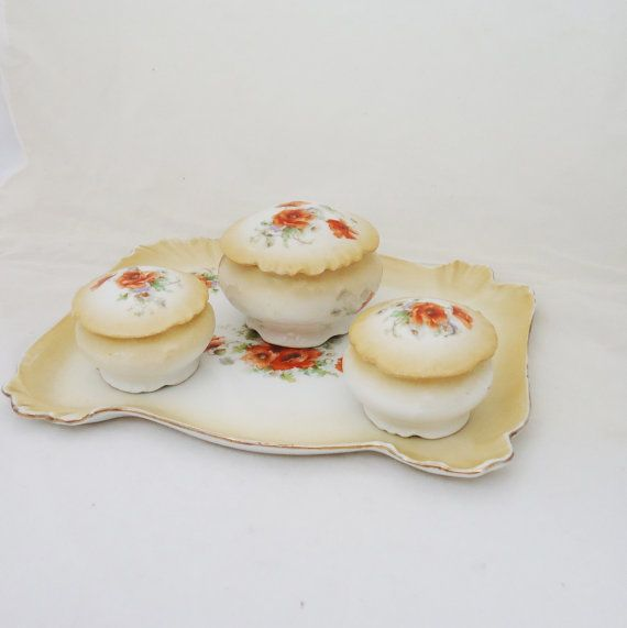 Limoges Dressing Table Set Poppy Limoges by thesecretcupboard