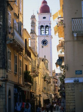 Apartment Buildings with St. Spyridon's Belltower Behind, Corfu Town, Greece